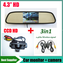Car mirror Monitor+ 2.4G wireless signal with Universal Car rear view backup reverse camera CCD HD auto Parking kit For all car
