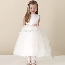 2017 New Sweet Ball Gown White Junior Bridesmaid Dresses Sashes Bow Floor-Length Dress To Party Flower Girl Dresses QA257
