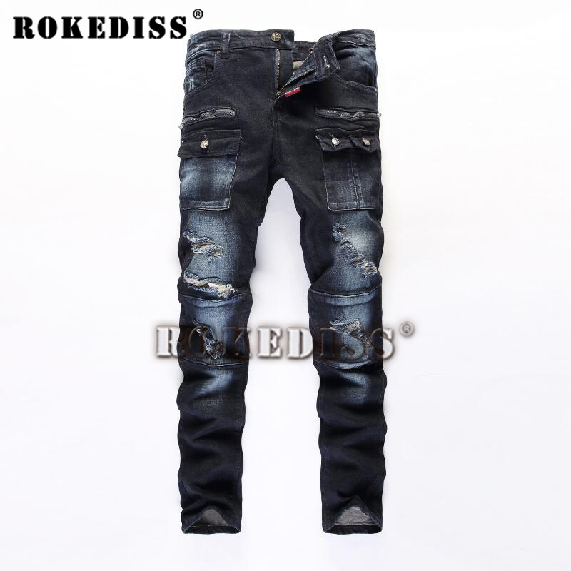 Mens fashion pocket hole ripped jeans biker Casual patchwork slim straight dark blue denim Men jeans pants Long trousersОдежда и ак�е��уары<br><br><br>Aliexpress