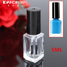 5pcs/lot 5ml Transparent Square Nail Polish Bottle With Lid Brush Empty Cosmetic Nail Oil Glass Bottles Containers Makeup Tool