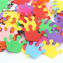 Lucia Crafts Approx 100pcs/lot Random Mixed Multi Shapes Felt Patch Applique Scrapbooking DIY Sewing Accessory D14010302(HS100)(China)