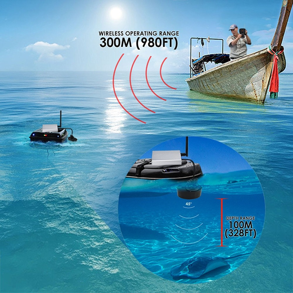 Sonar For Fishing FF918-CWLS Wireless Echo Sounder Fishing Alarm Boat Fish Finder 300m980ft For Underwater Deeper Hunting (5)