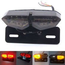 Newest 12V Motorcycle Tail Light LED Integrated Brake Smoke Turn Signal Light Red Amber Motorbike License Plate Lamp Indicators(China)
