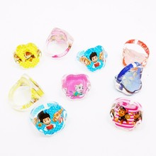 Wholesale Lots 20Pcs Cute Cartoon Kids Paw Flower-shaped Acrylic Ring Girls Patrol Rings event Party supplies Birthday Gift(China)