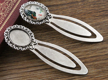 New Fashion 2pcs 13x18mm Inner Size Antique Silver Simple Style Handmade Bookmark Cabochon Base Cameo Setting (I1-28)(China)