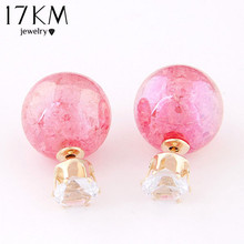 17KM Super Deal Brand Cheap Double simulated Pearl Earrings Colorful Statement Stud Crystal Earring Wedding Jewelry For Women