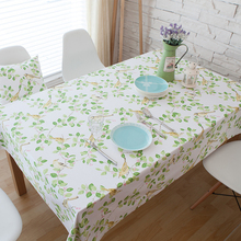 Hot 100% cotton table cloth rectangle green leaves birds printed table covers dustproof thick tablecloths for wedding home party
