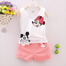 Girls Summer Sleeveless Outfits  Baby Girl Minnie Mouse Vest Top +Bowtie Shorts Pants Set Clothes Kids Outfit  1-5T