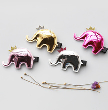 Creative New Korean Lovely Animal Baby Girls Hairpins Cartoon PU Elephant Clip Hair Clips Kids Children Accessories