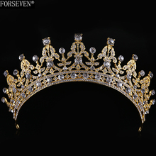 Vintage Gold Tiaras Crystal Crown for Wedding Hair Accessories Rhinestones hairwear Bride Hair Jewelry Women Headdress CY161117