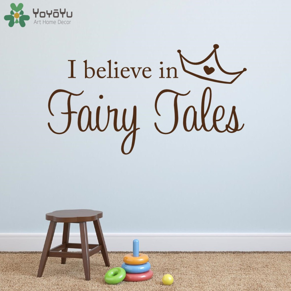 Compare prices on fairy princess wall decals online shoppingbuy princess wall decal for kids rooms quotes i believe in fairy tales wall stickers girls bedroom amipublicfo Image collections