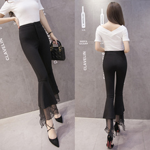 new spring summer women gauze patchwork bell bottom Cotton ankle length plus size fashion Flare pants high waist female trousers