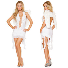 Adult Black White Angel Costume Sexy Women Halloween Cosplay Fancy Dress with Wings Party Cosplay Uniform(China)