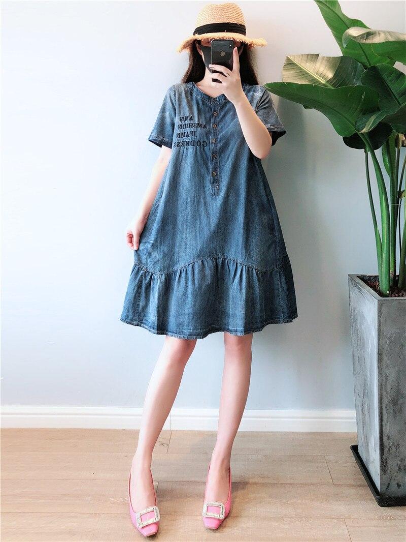 Summer Dress Women Plus Size 5XL Casual O-neck Short Sleeve Denim Dresses Women Knee Length Denim Jeans Women Dress 2019 Robe   3