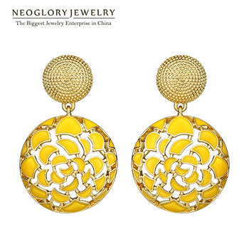 Neoglory Indian Jewelry Yellow Round Bohemian Vintage Enamel Statement Drop Dangle Earrings Punk For Women 2017 New Gifts