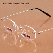 Peekaboo Rimless reading glasses Men Metal Readers Women magnification ready-made Eyewear +1.00 +1.50 +2.00 +2.50 +3.00 +3.50