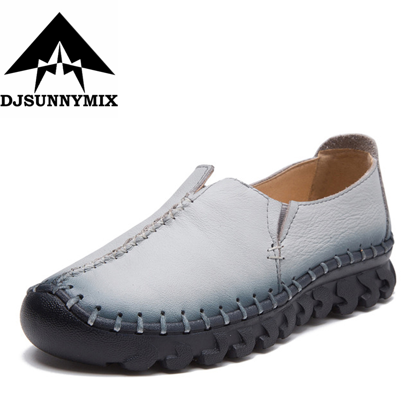 DJSUNNYMIX High Quality Women Genuine Leather Shoes Slip On Flats Handmade Shoes Loafers mocassin flat Womens shoes Slipony<br>