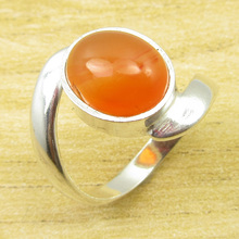 Silver Plated Ring Size US 6 3/4 ! Rare Carnelian WELL MADE NEW(China)