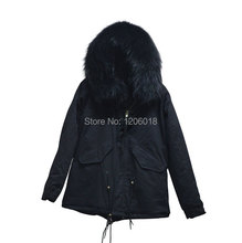 New fashion 20175 black real fur coat parka,large collar black big jacket,women parka manufacturer cheap price