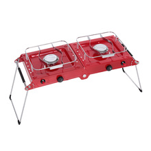 Outdoor Folding Cooking ALOCS Portable Phantom Series Double Gas Picnic Camping Stove Stainless Steel Burners Grills Red Color