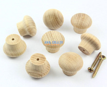 50 Pieces 24mm Wooden Drawer Knob Pull Cabinet Knob Wood Knob Furniture Handle