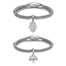 Fashion Design Austrian Silver Tree of Life Hand of Fatima Charms Stretch Mesh Bracelets Popcorn Chain Jewelry For Women