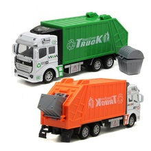 Green orange garbage truck toy  truck popular car model toys for children fuel tank truck model diecast car kids birthday gift