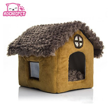 Printed small pet dog cat bed tent house Kennels for small dog winter Soft dog puppy Chihuahua Bed indoor House bed nest cushion