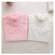 Cute Lace shirts for children 2016 Spring 100% pure cotton children's long sleeve Shirt baby girls clothes  white and pink