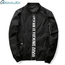 Grandwish Mens Bomber Jacket 4XL Letter Printed Mens Flight Jacket Stand Collar Pilot Bomber Jacket Men Slim Fit ,PA549