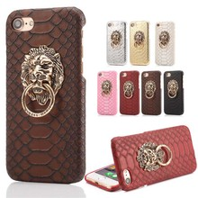 Luxury Snake Pattern 3D Metal Ring Lion Head Hard Case For iPhone 6S Plus 6 7 Plus PU Leather Phone Cases Stand Back Cover Funda