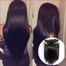 Fabc Hair straight clip in hair entensions human hair clip ins remy 7A malaysian virgin natural clip in human hair extensions