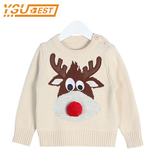Baby Christmas Deer Sweater Winter Boys Girls Pullover Sweaters O-neck Knitted Baby Boys Outwear Sweater Shirts Newborn Clothes(China)