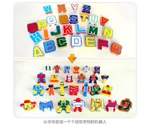2017 Kids Gift Toys doll Anime Cosplay collection Mini Puzzle Alphabet Letters Numeral Alphabet Transformation Robots Education(China)