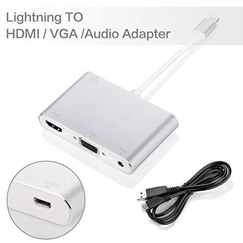 Leadzoe Lighting To HDMI VGA Cable for IPhone To HDMI Audio TV AV Adapter Cable +USB Cable for Iphone 5s 6 6s 7 7 Plug Ipad IPod<br>