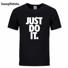 brand t shirt men 201 new Fashion Just Do It Letter Printed Fashionable Round Neck T-shirts Men's short sleeve T-shirt(China)
