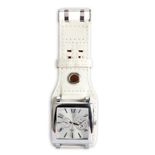 Fashion Women Men Large Square Face Quartz Leather Band Wrist Watch White LL