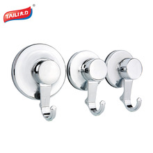 3 Units Chrome Suction Cup Hook Strong Suction Wall Hook for Bathroom Kitchen Clothing Door Hook Wall Towel Hook(China)
