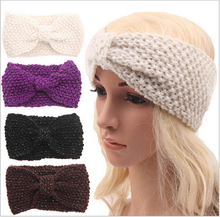 adult winter warm crochet knit headbands braided headband wool scrunchy elastic headbands head hair bands accessories for women(China)