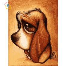 HOME BEAUTY Cute Puppy DIY Painting By Numbers Kits Coloring Oil Painting On Canvas Drawing Home Artwork Wall Art Picture A029-5(China)