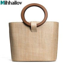 2017 New Trend Straw Bag Package Women Beach Vacation Handbag Bag Round Wood handle XS-116(China)