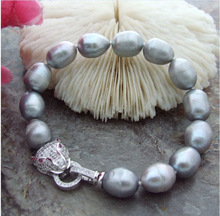 natura 13mm south sea grey baroque pearl bracelet 7.5-8 inch
