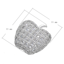 Fine Quality Rhodium Plated Apple Shape Charms Beads Micro Pave DIY Jewelry Accessories Beads Fits Bracelets Necklace(China)