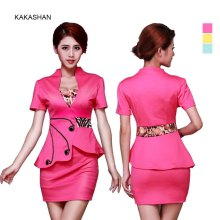 YJ2023 Women Clothing 2 Piece Set Airline Stewardess Uniforms Irregular falbala Dress Suit Temptations Ladies' Dresses(China)