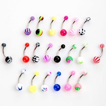 Ball Tongue Rings 20pcs Colorful Stainless Steel Ball Barbell Curved Navel Belly Button Rings Bars Piercing 88 CX17