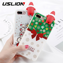 USLION For iPhone 6 6s Plus Phone Case Fashion Noctilucence 3D Cute Cartoon Santa Claus Christmas Tree Sock Soft TPU Gift Cover
