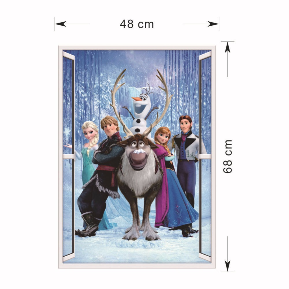 HTB1InF.eTnI8KJjy0Ffq6AdoVXa3 - Fashion Cartoon Elsa Anna wall stickers girl Children room background decor stickers removable kids bedroom movie poster decal