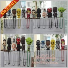 Hot sale 12pcs Star War pvc bookmark holder paper clip Book marks Office Supplies Stationery kids party gifts(China)