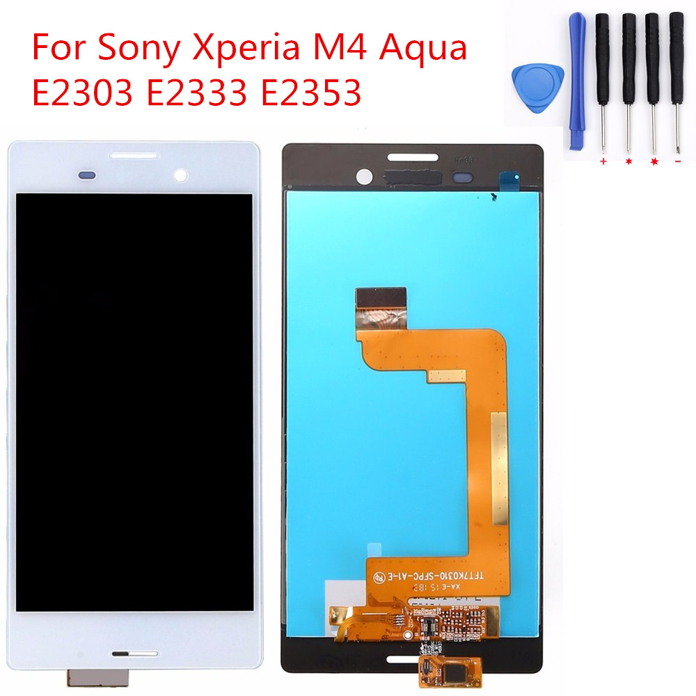 For Sony Xperia M4 Aqua E2303 E2333 E2353 White Black 5 inch LCD Display Touch Screen with Digitizer Assembly + Tools<br><br>Aliexpress