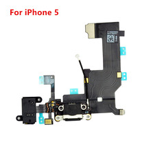 Black / White 5G Charger Charging port Dock USB Connector Data Flex Cable For iPhone 5 Headphone Jack Flex Cable replacement